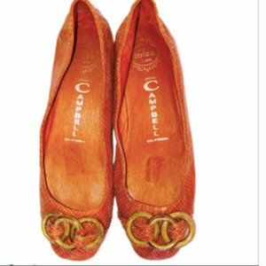 JEFFREY CAMPBELL ORANGE FLIPPED FLATS 6.5
